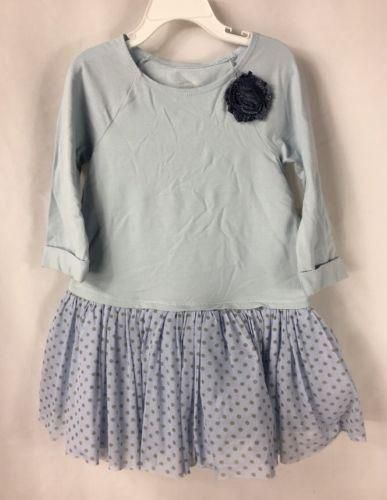 Marmellata Long Sleeve Light Blue Tutu Dress Flower Polka Dots NWT size 5