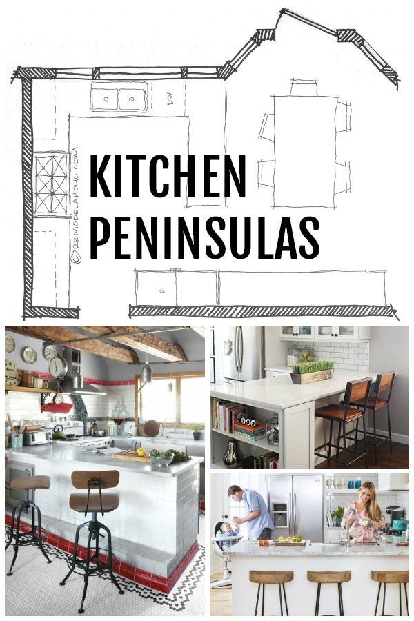 Kitchen Peninsula Designs via Remodelaholic.com | House