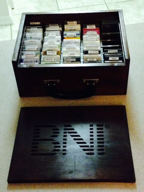 BNI Business Card Box with 35 partments to hold cards