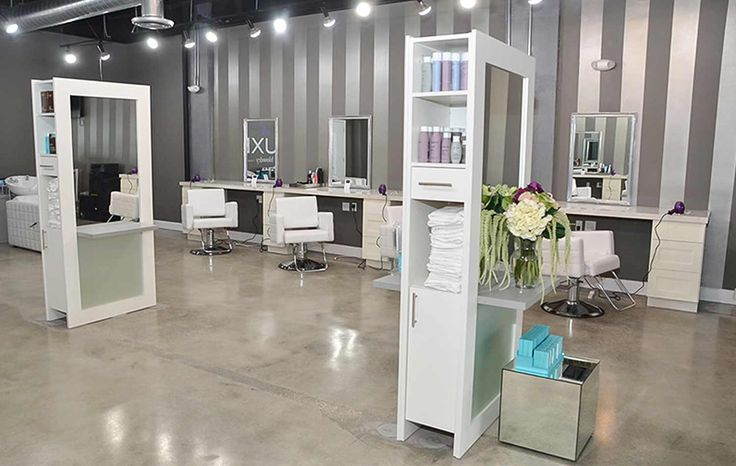 Ideas for hair salon styling station decor. Lauren Station in White and gray shelf. Lots of built in storage
