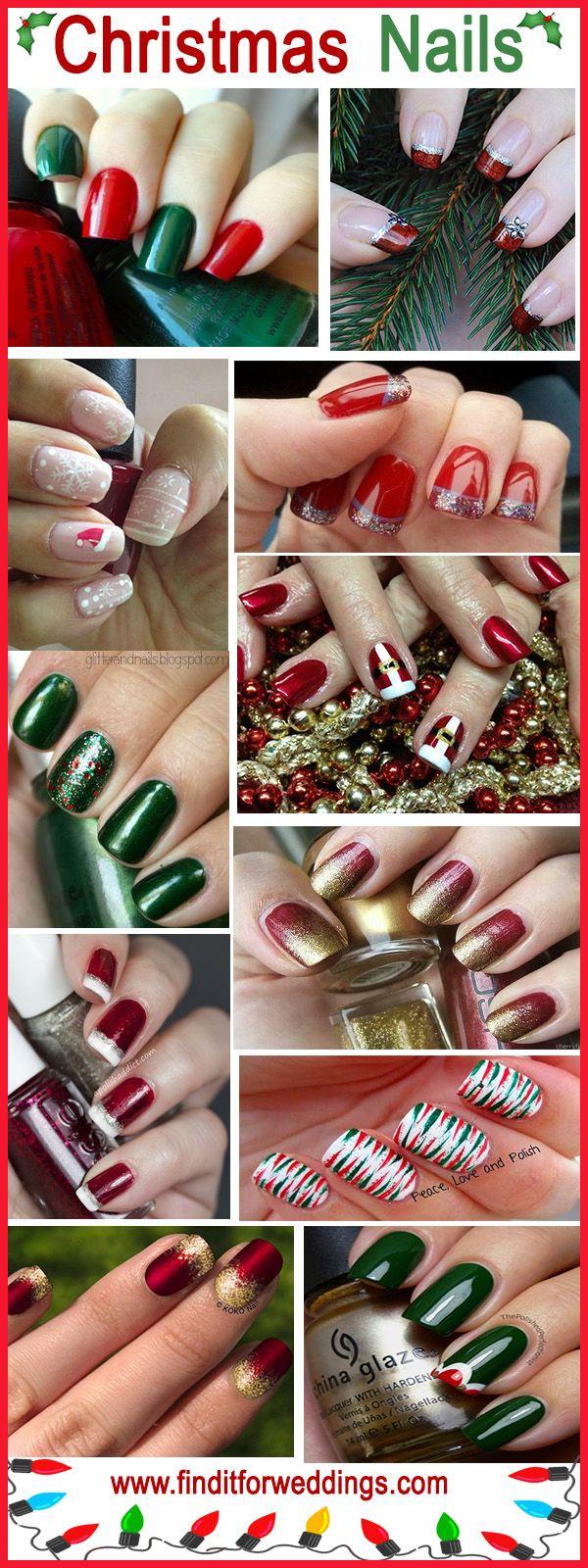 Christmas nail designs Nail www.finditforweddings.com Art Red Green #nails DIY NAIL ART DESIGNS
