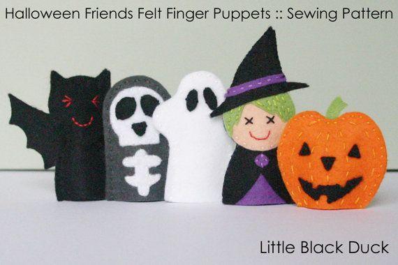 Sewing Pattern :: Halloween Friends Felt Finger Puppets by LittleBlackDuck, $5.00