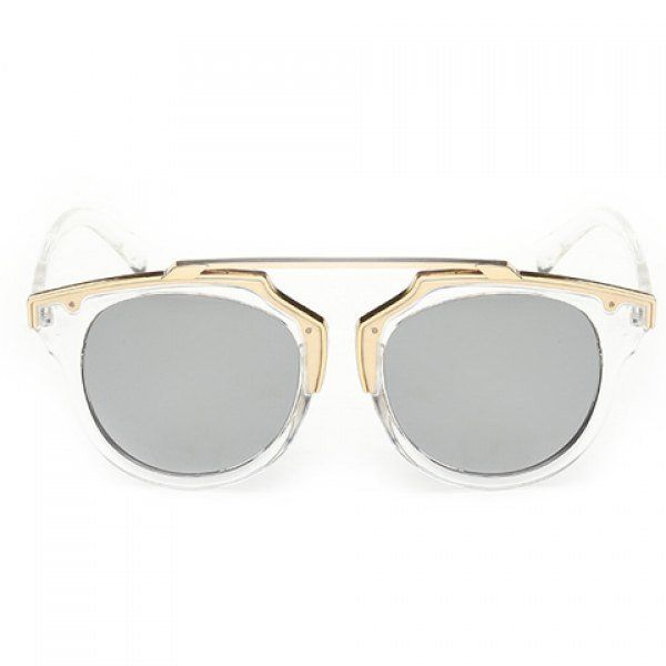 Chic Golden Metal Splicing Transparent Frame Sunglasses For Women