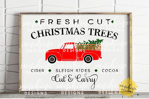 Fresh Cut Christmas Trees SVG, Red Truck svg, Red Christmas Tree Truck svg, Vintage Christmas Sign svg, Farm Fresh svg, Farmhouse sign svg
