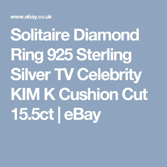 Solitaire Diamond Ring 925 Sterling Silver TV Celebrity KIM K Cushion Cut 15.5ct   eBay