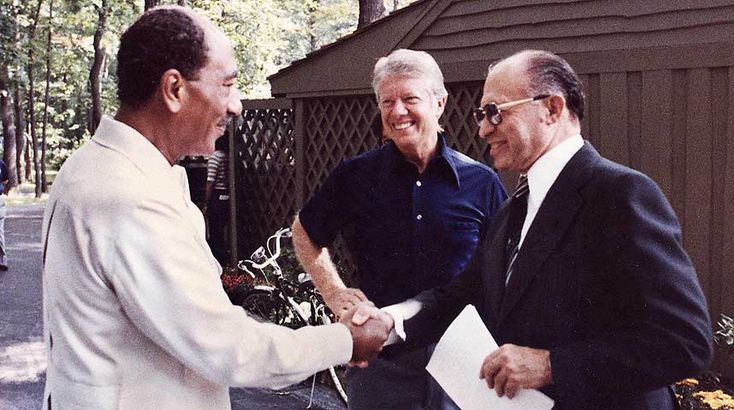 Israel-Arab Conflict: Camp David Accords 1978-09-17 • depicted Summit pre-Accord with L to R: Egypt's pres. Sadat / US' pres. Jimmy Carter / Israel's PM  Menachem Begin