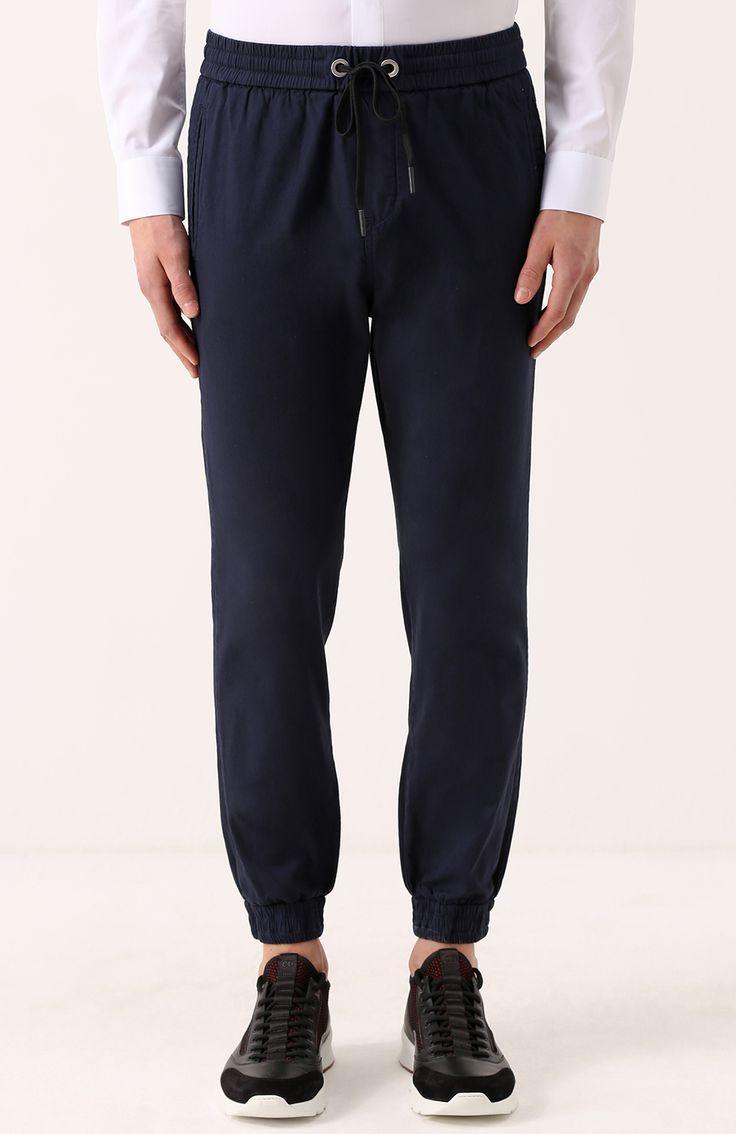Мужские темно-синие хлопковые брюки прямого кроя с манжетами на резинке Iceberg, сезон SS 2017, арт. I1P/B150/0412 купить в ЦУМ | Фото №3