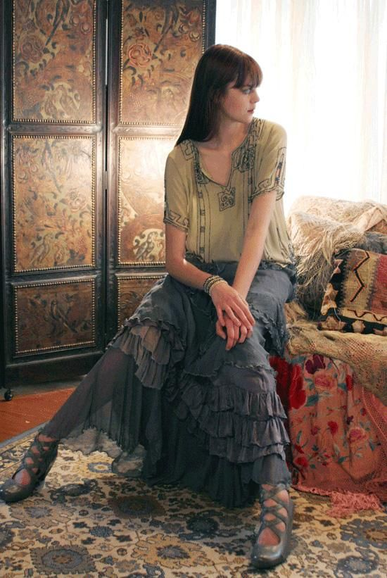Gray Silk Ruffled Skirt from Gypsy Moon!  I LOVE their clothes!