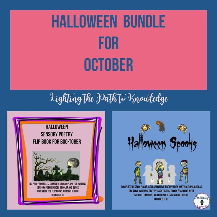 It's BOO-TOBER AND YOU KNOW what that means for your 5-8 grade students. They love candy, but most of them love to be scared even more. With this in mind, I've put together two of my popular resources in this Halloween Bundle for October. The first one is called Halloween Spooks Writing Activity task cards and more The second activity is named Halloween Sensory Poetry Flip Book for Boo-tober https://www.teacherspayteachers.com/Product/Halloween-Bundle-for-October-Grades-5-8-3429447