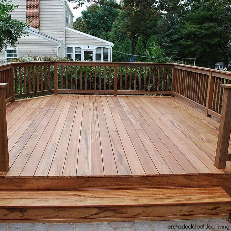 A free standing platform deck showcases exotic hardwood for Balcony platform