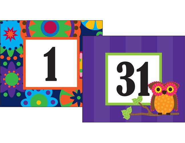 Mod Circles with Owls Double-Sided Calendar Cards