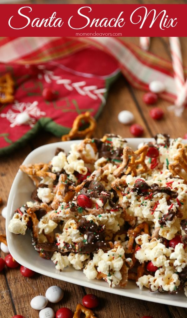 Christmas snack mix - - instead of mint m&m's (I would use plain) and instead of peanuts (I would use roasted raw almonds)