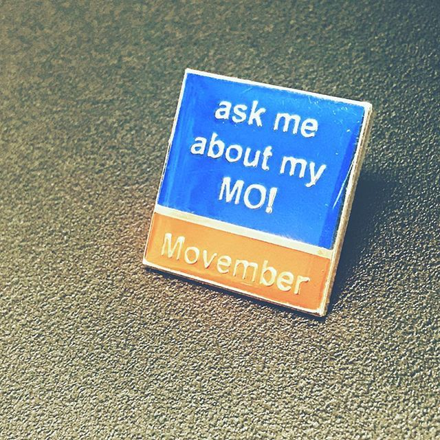 Ask me about my Mo! Pin Badges form I4c Publicity Ltd