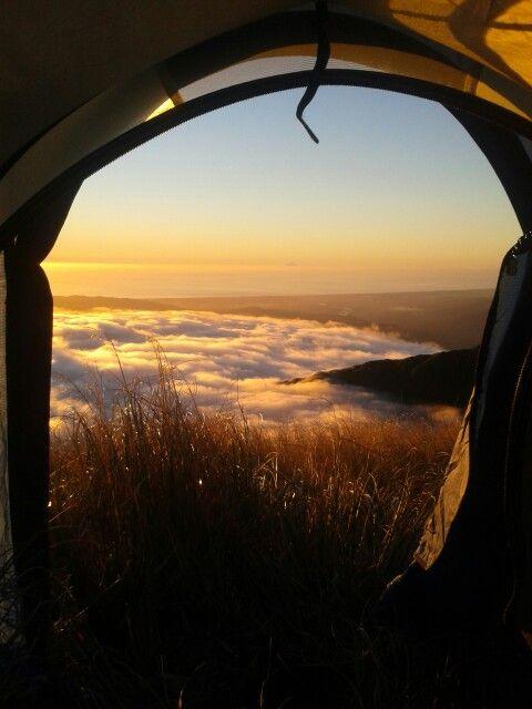 Evening tent view, Tararua tops New Zealand