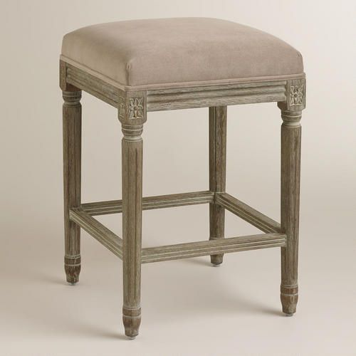 Cocoa Paige Backless Counter Stool Brown Fabric By