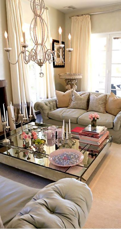 low mirrored coffee table