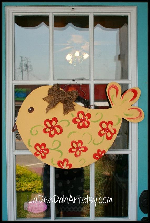 READY TO SHIP Cute Bird Wooden Door Hanger Decor by ladeedahart $24.00 & 30 best Painting: Bird Door Hangers images by Michelle Tartavoulle ...
