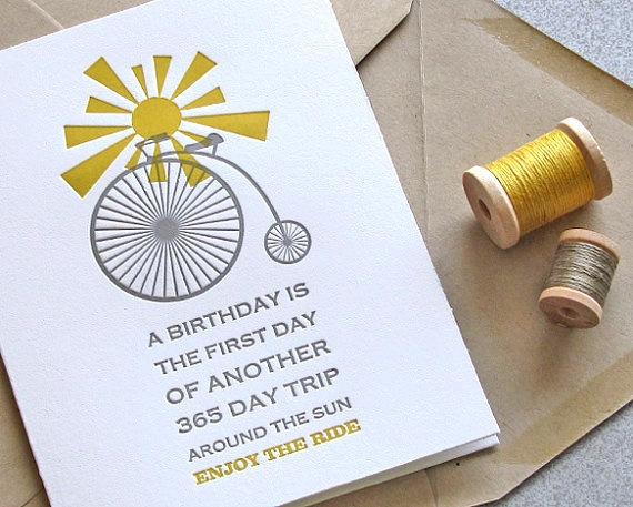 Bike Bicycle Happy Birthday Letterpress Greeting Card Set Sunshine Mustard Yellow Grey Gray 3 pack (GBD04)