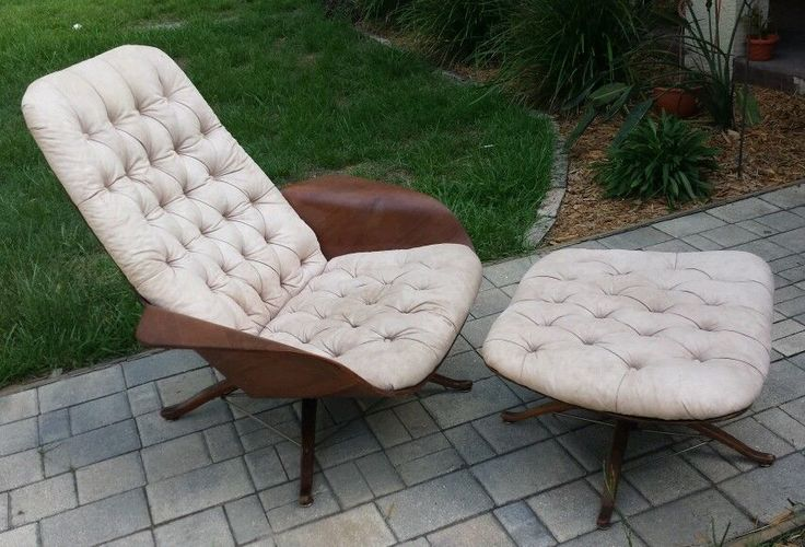 Mid Century Plycraft Tufted Bent Wood lounge Chair Ottoman Stool  SPIDER LEG #Plycraft