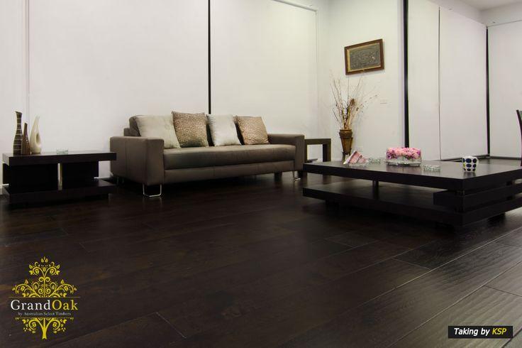 Grand Oak Timber Flooring: Burnt Oak Living Room