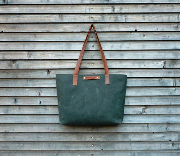 Waxed canvas tote bag/ carry all with  leather handles / Mothers day. $87.00, via Etsy.
