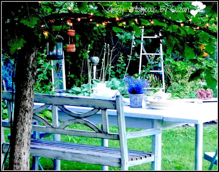 simply vintageous...by Suzan: White washed outdoor dining table