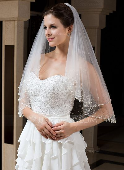 Wedding Veils - $18.79 - Two-tier Elbow Bridal Veils With Beaded Edge (006035735) http://jjshouse.com/Two-Tier-Elbow-Bridal-Veils-With-Beaded-Edge-006035735-g35735?ver=1