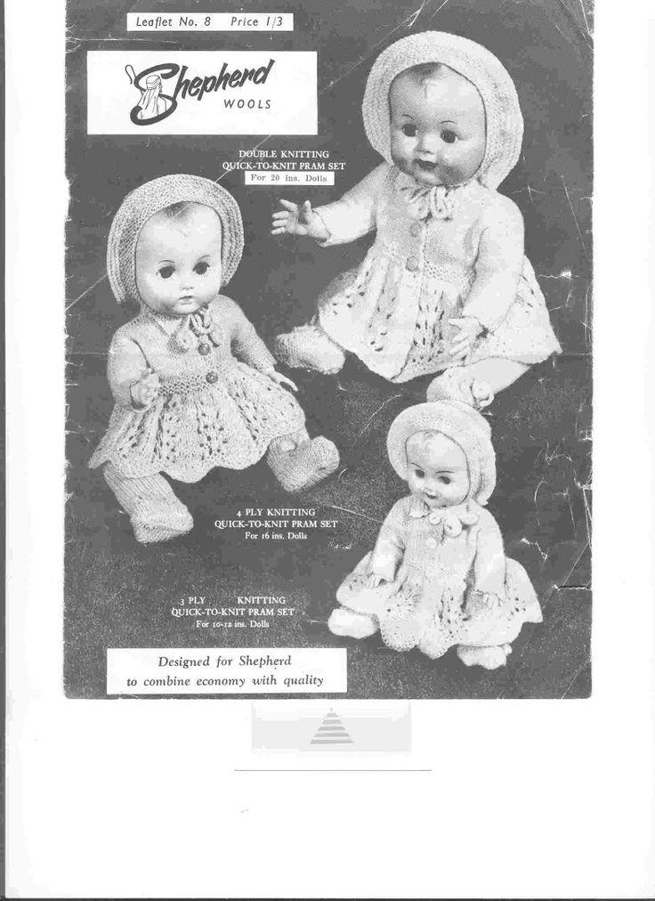 Shepherd Wools: Double knitting quick-to-knit pram set For 20 ins. Dolls - https://get.google.com/albumarchive/105888230928326800052/album/AF1QipN7tnP0PI7qcareNYMywXMiLVaijdVBlrQ3V7mg
