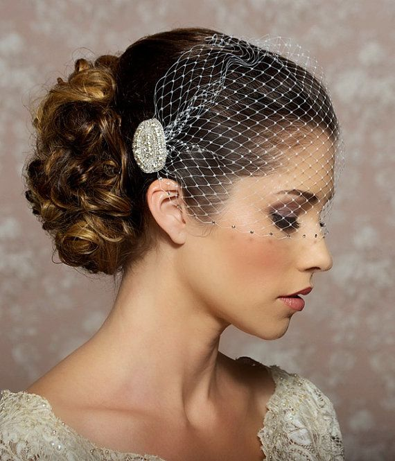 Wedding Veil with Rhinestone edge, Bandeau Birdcage Veil, Rhinestone Veil, Crystal Veil, Bird Cage Veil - Made to Order - VALENTINA. $57.95, via Etsy.