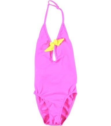 Princesse Ilou - Maillot de bain fille 1 pièce rose et jaune Fluo
