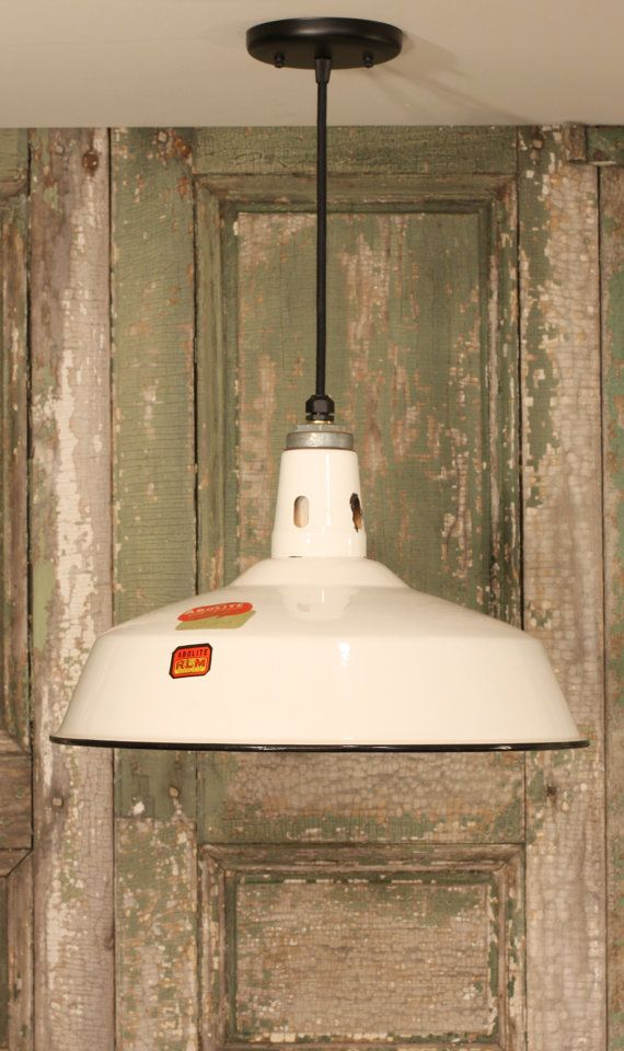 Industrial Lighting with Vintage White Enamel by lucentlampworks 182 Etsy