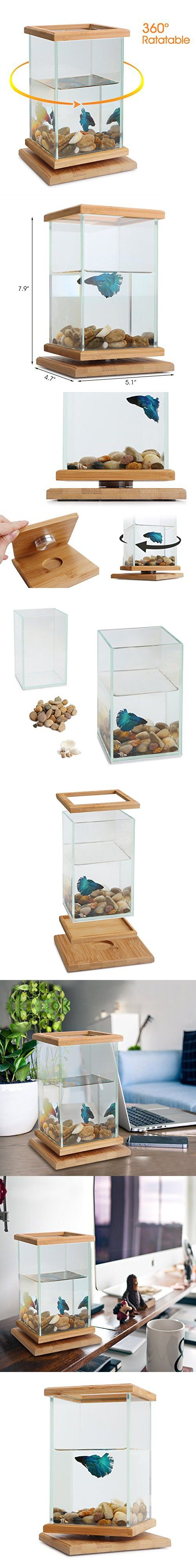 Rotatable Fish Bowls, Segarty Cool Unique Design Small Square Glass Vase Creative Aquarium Kit with Gravel and Shells, Desktop Decorative Fish Tank Could be Betta Fish & Gold Fish Pot