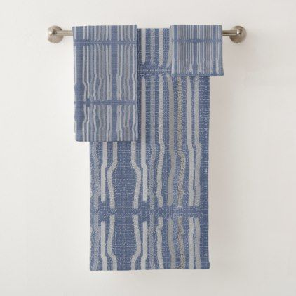 Blue with Grey Stiped Pattern Bath Towel Set - stripes gifts cyo unique style