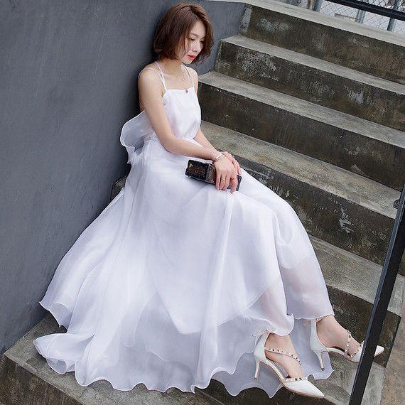 큰 흰색 멜빵에 넣어 여름 섹시한 홀터넥 드레스 여성 타이어 해변 리조트 비치 드레스 스커트 드레스 드레스