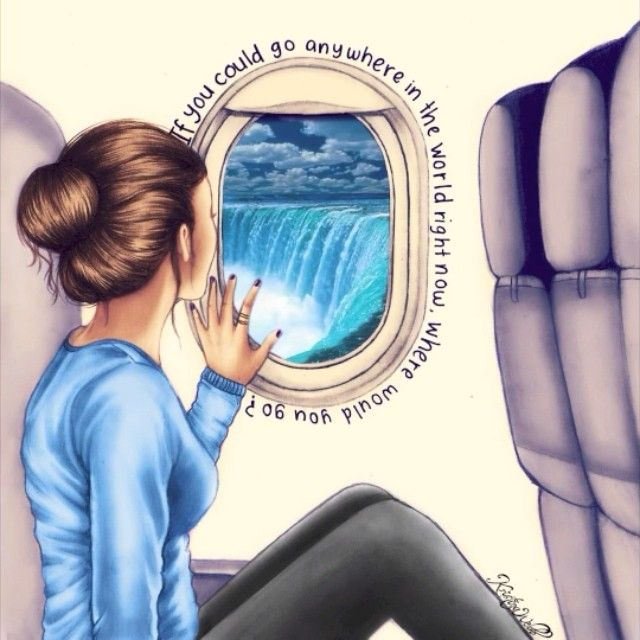 """If you could go anywhere in the world right now, where would you go?"" comment below your answer This is a drawing of an awesome follower called @__efflorescence__ she tagged her picture to #drawmekristina (go see the photo I followed on her account if you would like.. I changed the window into an airplane window) ☺ the photos in airplane window are not mine and the song is 'Let it go' by Demi❄"