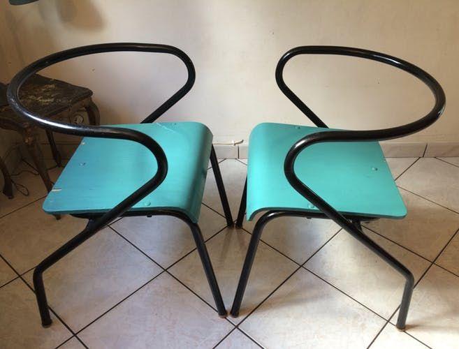 Paire de fauteuils Mullca 300 adulte Gascoin Hitier design vintage des années 50/60
