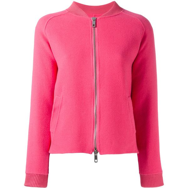 P.A.R.O.S.H. zip-up bomber jacket ($364) ❤ liked on Polyvore featuring outerwear, jackets, pink, zip up bomber jacket, wool bomber jacket, zip up jackets, pink bomber jackets and pink zip up jacket
