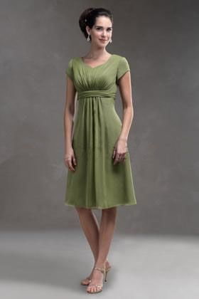 Short sleeves green chiffon v-neck A-line pleated belt tea-length Mother Of The Bride Dress MBD257028