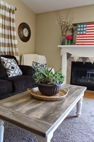 Rustic coffee table DIY makeover. Rustic living room decor. Two toned coffee table