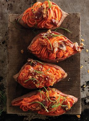 Tasty Twice-Baked Sweet Potatoes with Bacon-Sesame Brittle! Yes please! mmmbacon baconlovers sweetpotatoes