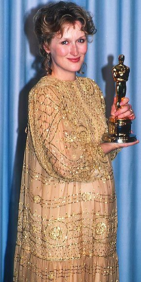 Tonight 4-11 in 1983 Meryl Streep took home her first Best Actress Oscar for her role in Sophie's Choice. We would get very used to her being nominated many times after this year. I think she's up to 18 Oscar nominations now -- more than any other actor (including Katherine Hepburn!)