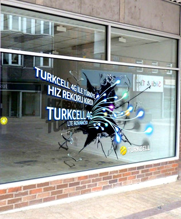 This 3D window graphic was designed and installed across all the retail outlets of Turkcell in Turkey to promote the launch of it's 4G Services