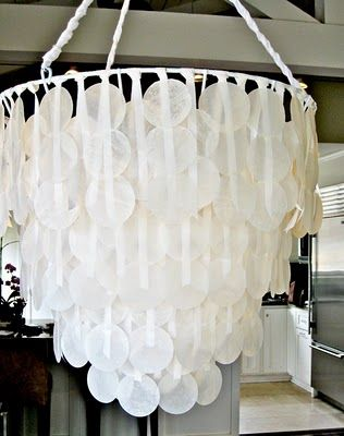 Diy faux capiz shell chandelier mobile my chandelier how to below ive loved the look of capiz shell chandeliers for a long time so pretty