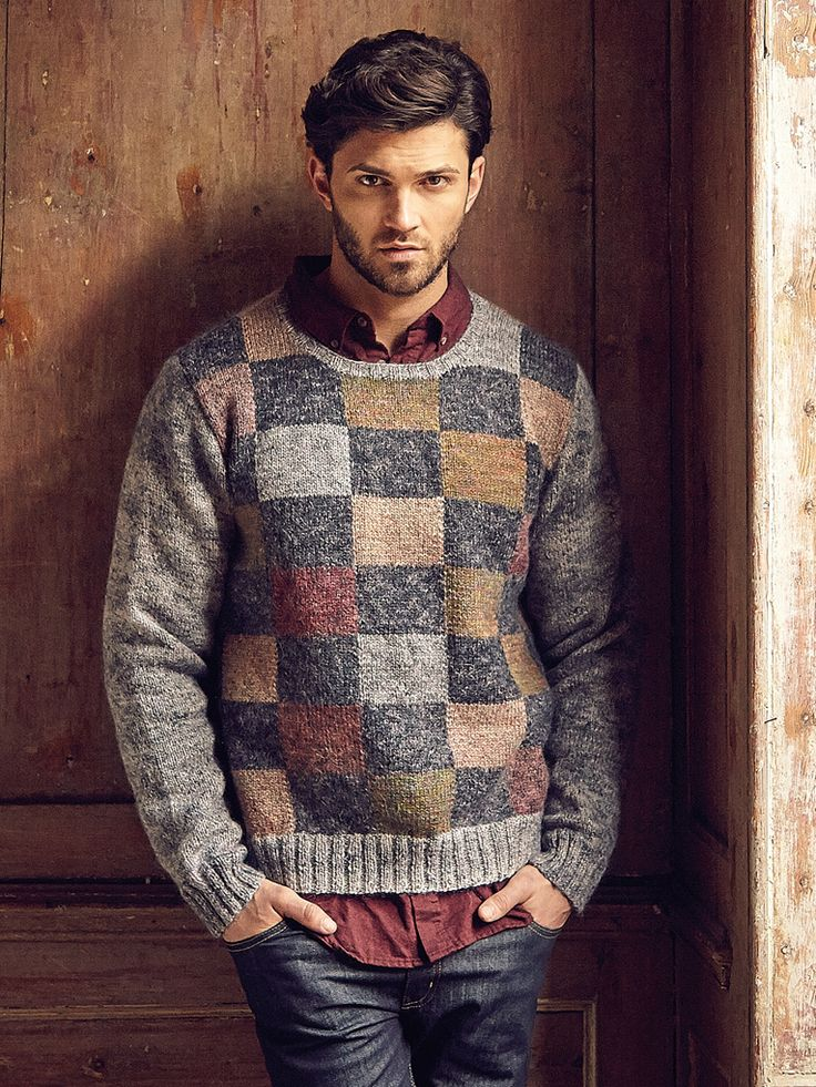 Guernsey - Knit this mens sweater from Rowan Knitting & Crochet Magazine 58, a design by Kaffe Fassett using the gorgeous yarn Colourspun (wool and mohair.) With a contrasting block design worked entirely in stocking stitch, this knitting pattern is suitable for the average knitter.