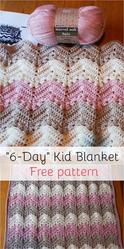 6-Day Kid Blanket - Free pattern! #freepattern #crochet #crochetpattern #yarn