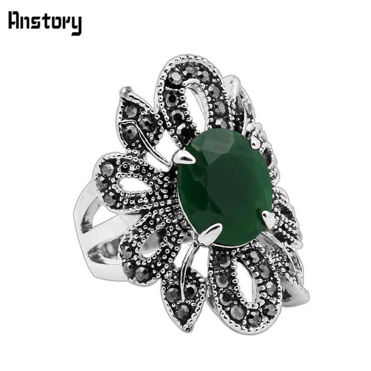 Fashion Jewelry Vintage Look Tibetan Alloy Antique Silver Plated Agate Hollow Cutting Flower Rings TR435