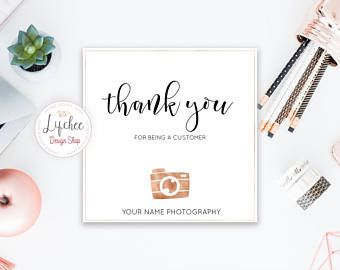 Photographer Business Rose Gold Camera Square Thank You Card | Photography  Branding Thank You Note |  Business Thank You Card Template