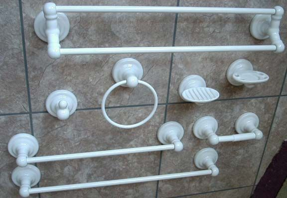 Meridian bath hardware white porcelain round bases choices of single or double towel bars for Ceramic towel hooks for bathrooms