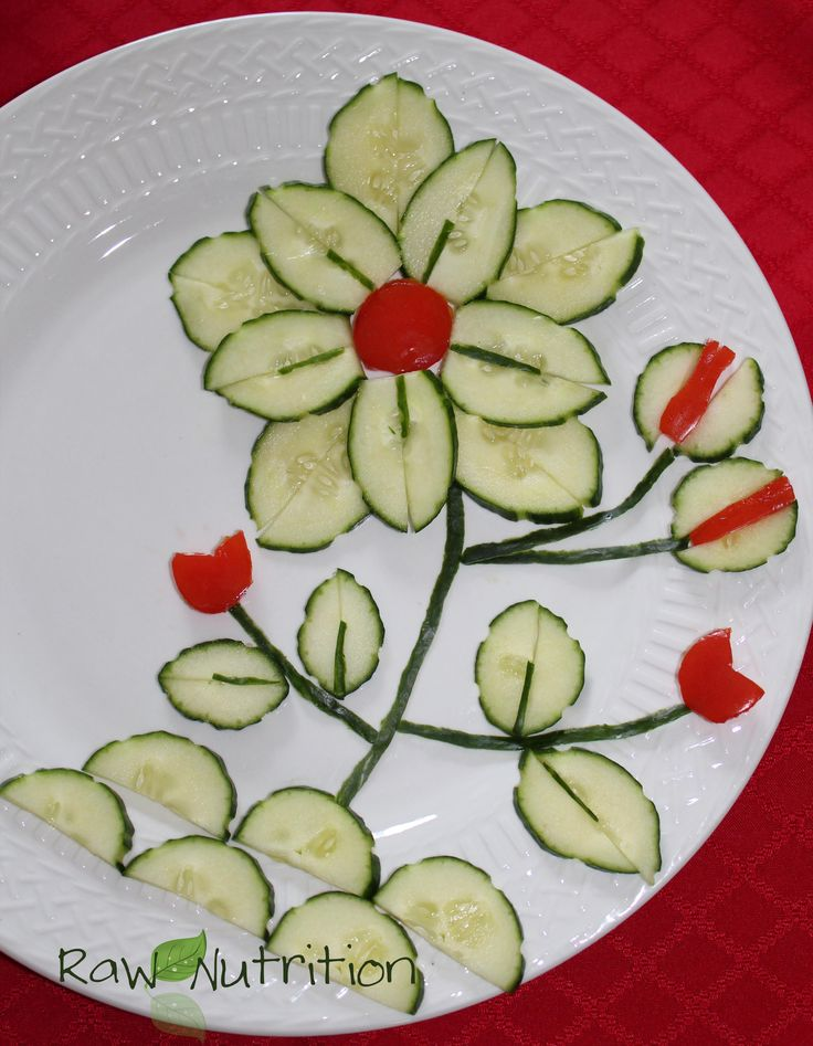 15 must see cucumber flower pins garnishing ideas high - Kids fruit salad decoration ...