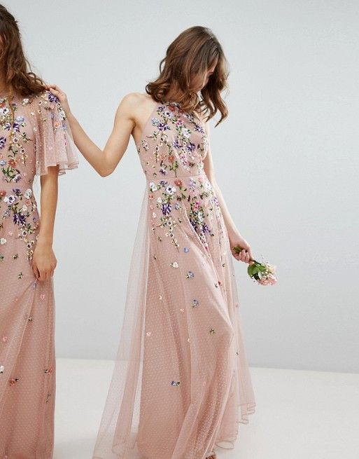 8e49f8df9473 DESIGN floral embroidered dobby mesh cami strap maxi dress in 2019 | ropa | Floral  mesh dress, Asos prom dresses, Asos bridesmaid dress
